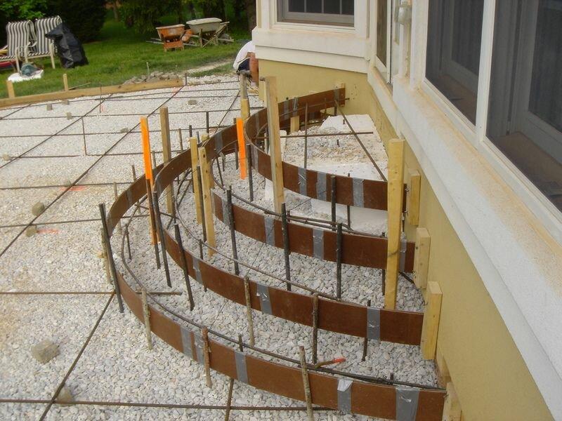 полукруглая лестница для крыльца из бетона