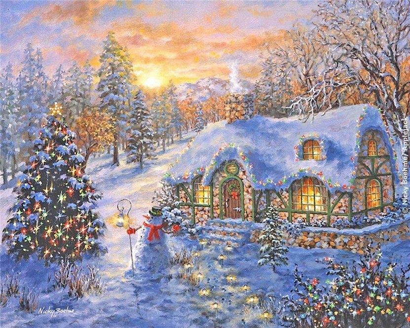 Открытки зимний домик