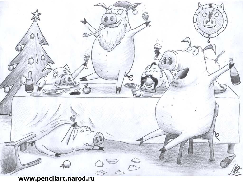 Новый год картинки рисунки карандашом, серебряной