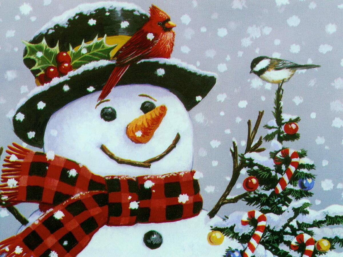День, открытка снеговик картинки
