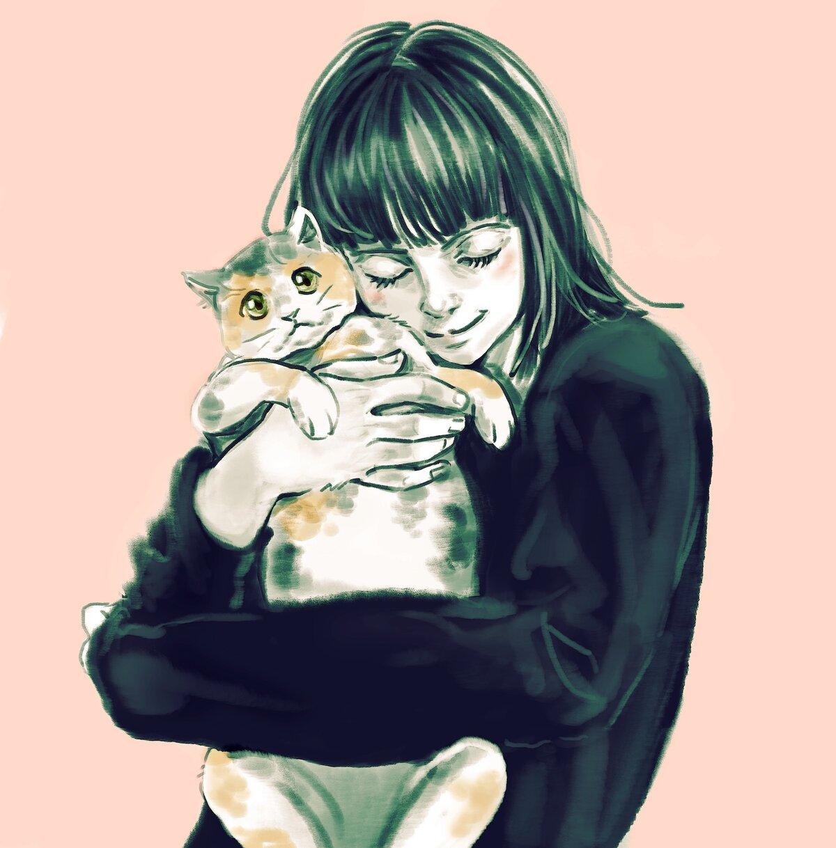 Картинки девочка и кот нарисованные