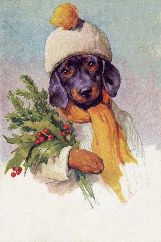 новогодние собачки картинки для декупажа разрезали