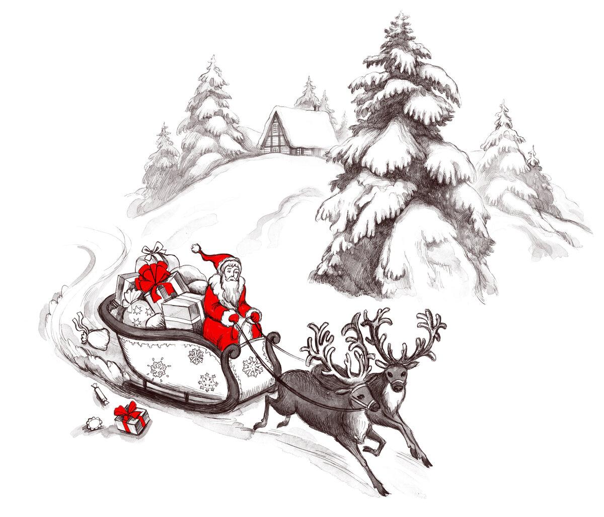 День, дед мороз на санях картинки карандашом
