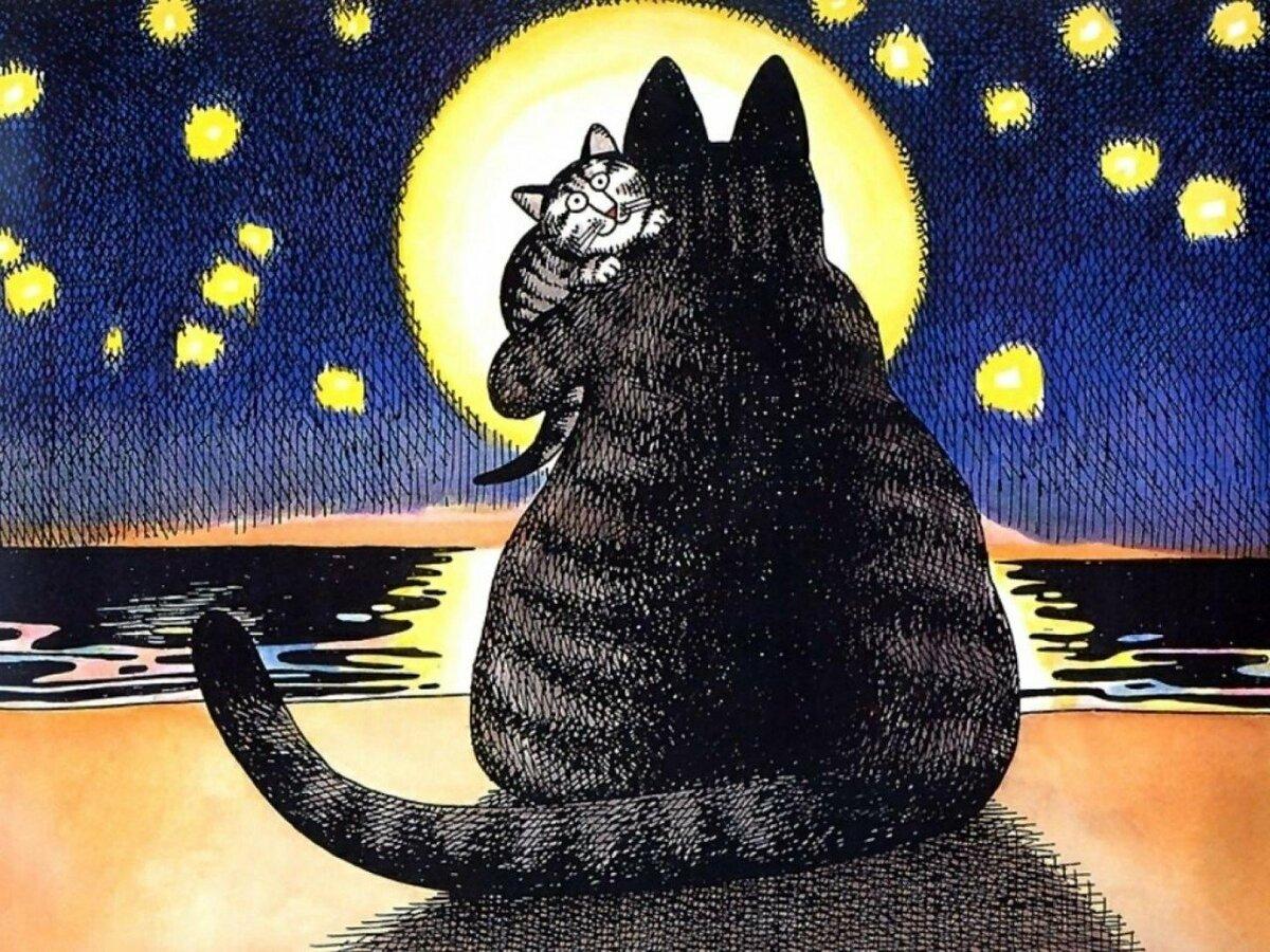 Смешные картинки с котами рисунки, открытки ручной
