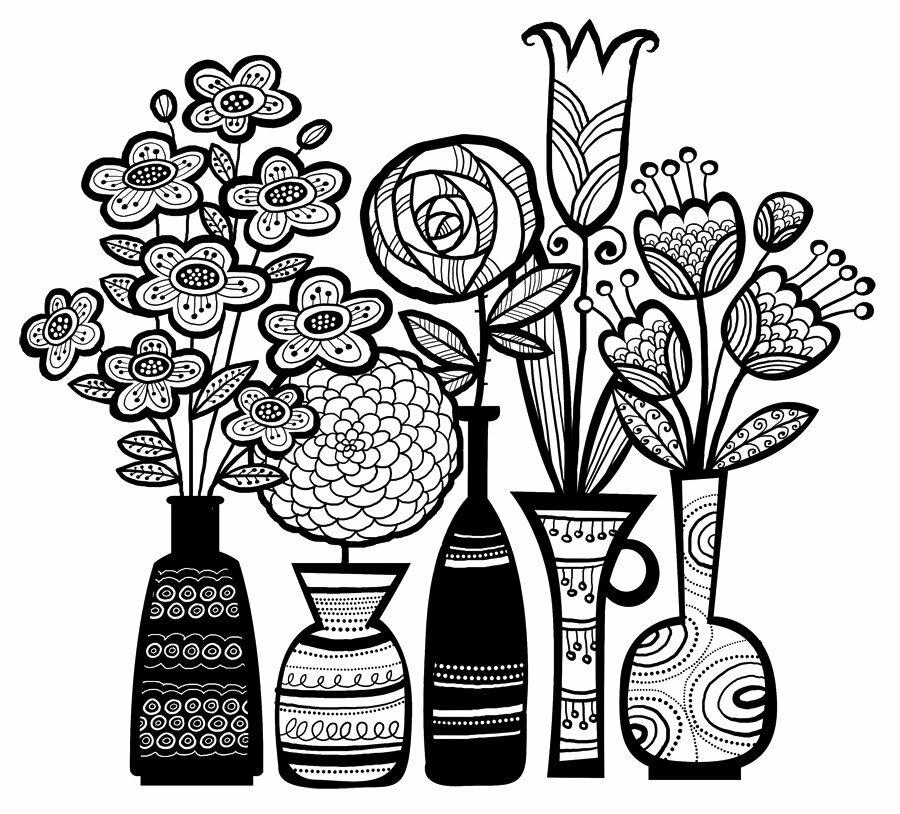 картинки черно белые для распечатки вазы важно
