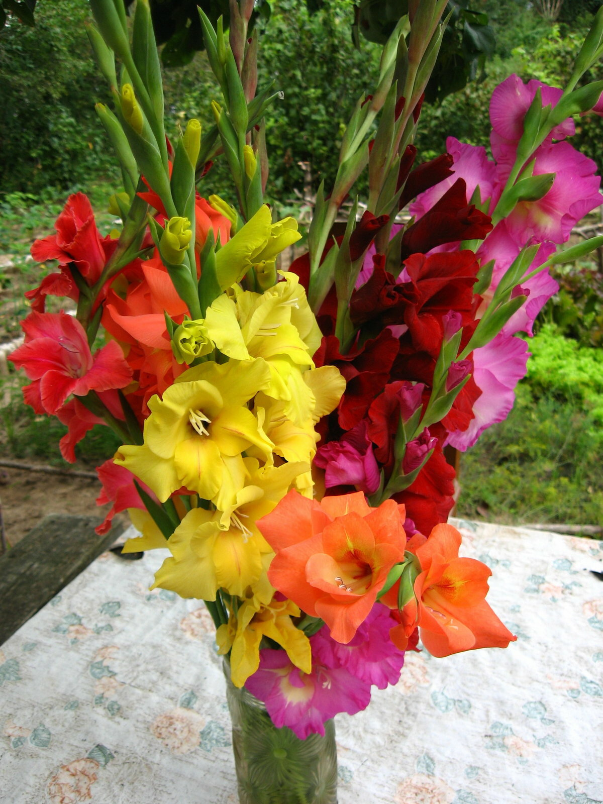 Букет цветов из гладиолусов фото