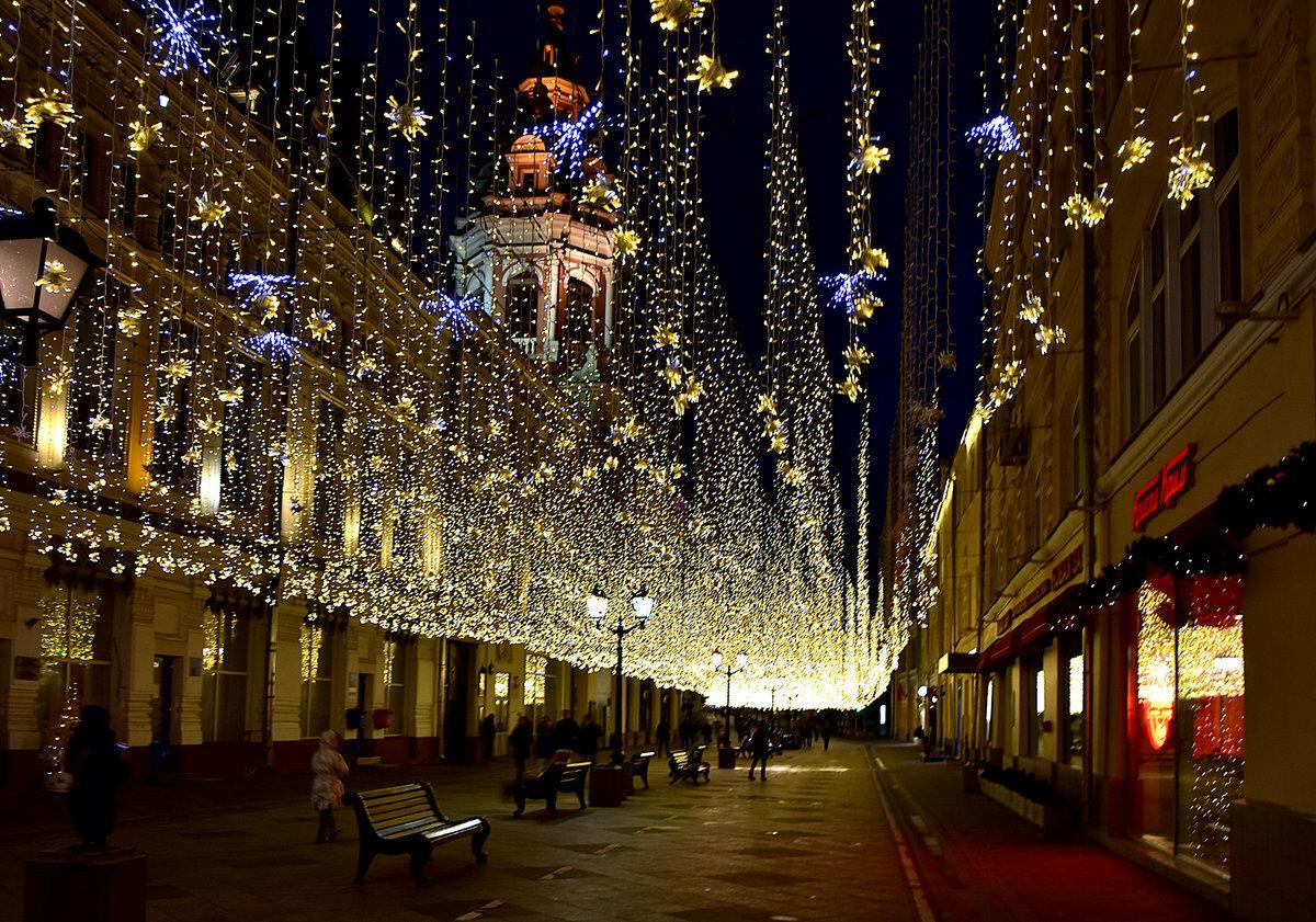 новогоднее украшение улиц москвы фото