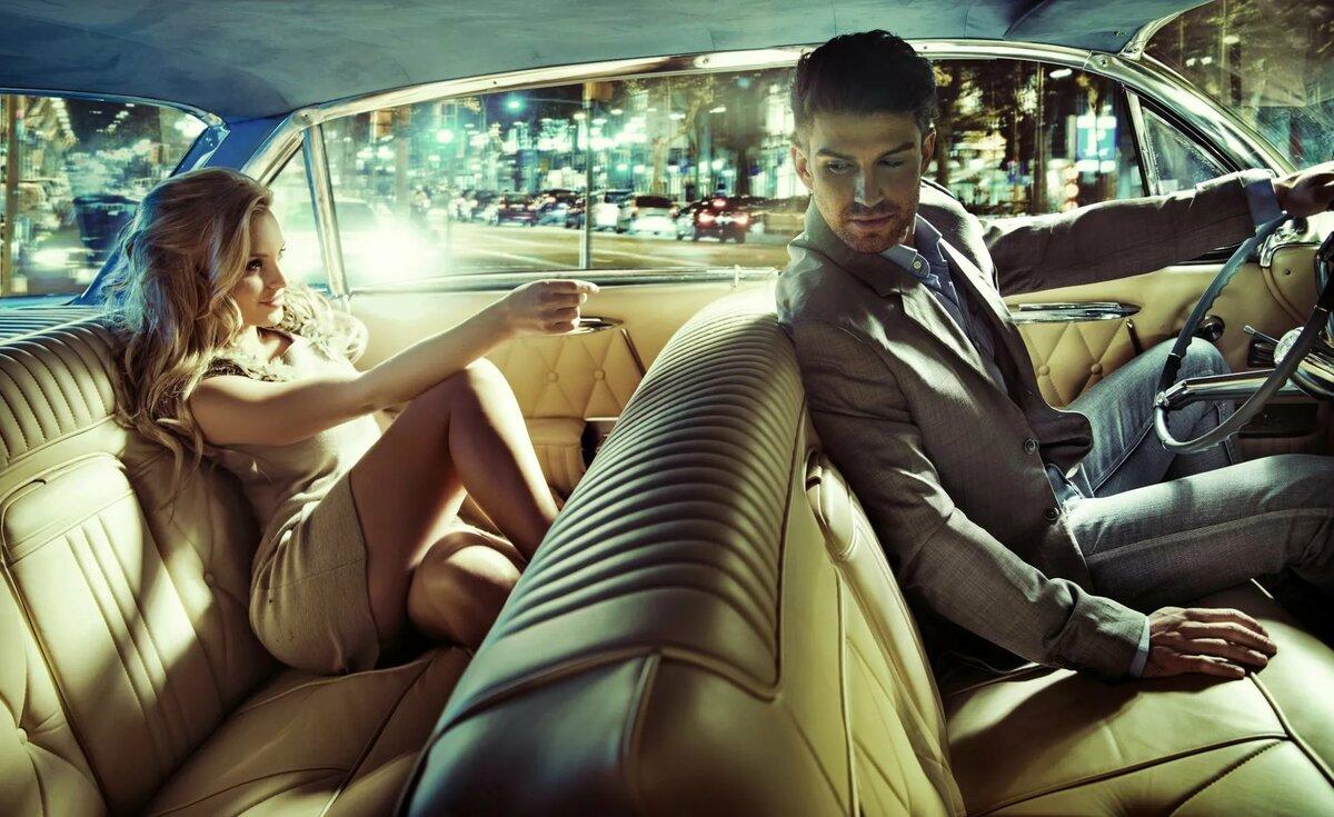 Открытки он и она в машине