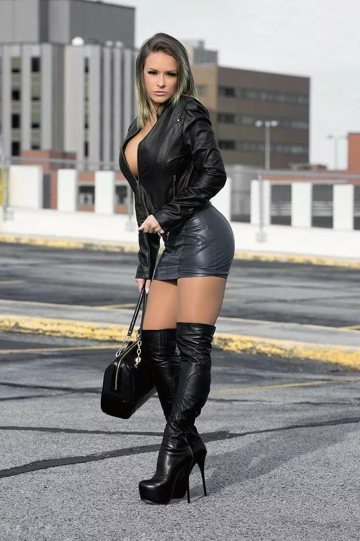 Amateur leather mini skirt — pic 15