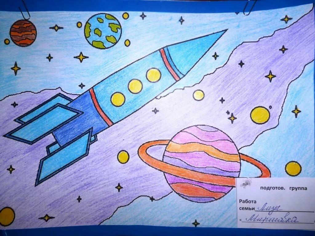 Открытки ко дню космонавтики рисунки