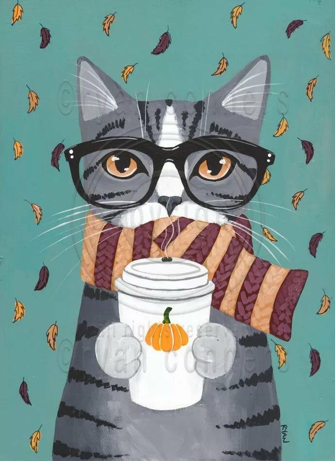 Прикольные картинки кошки в коктейле для срисовки