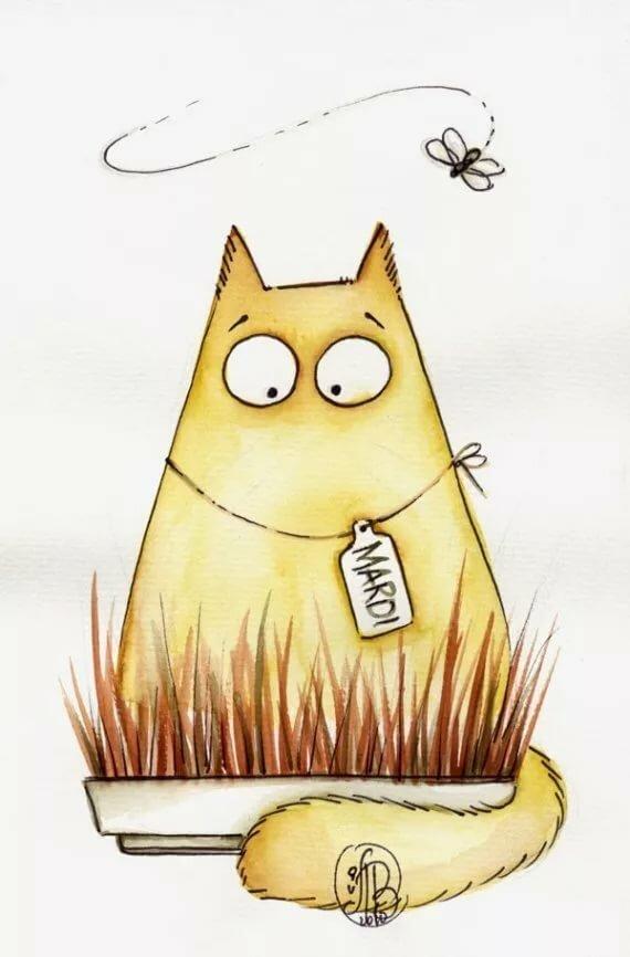 Спокойной ночи, прикольные картинки котики для срисовки