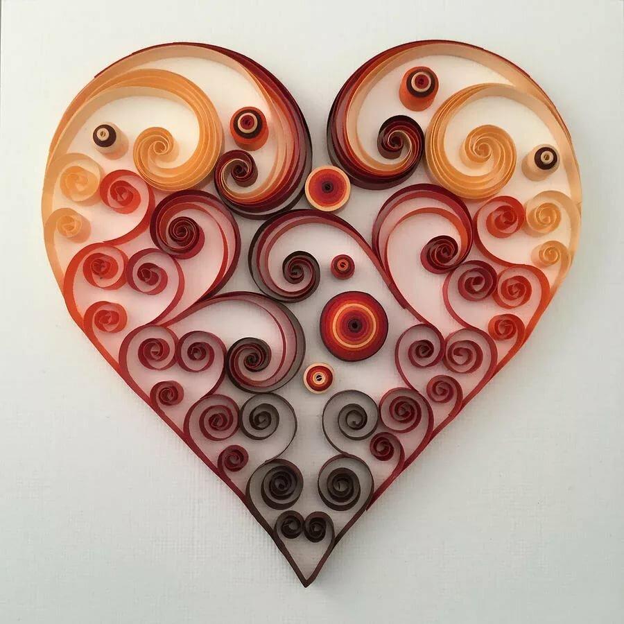 Сердце на открытке в технике квиллинг, как открытку