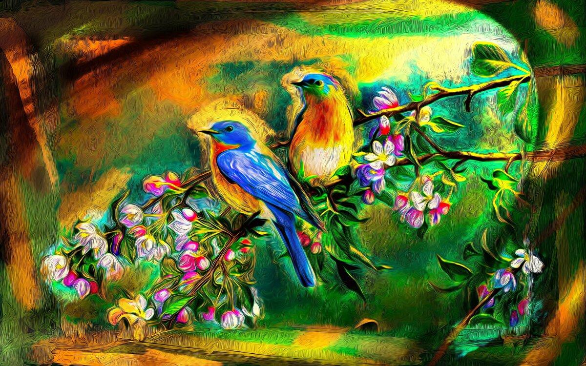 рисунки красивых птиц на цветах блюдо