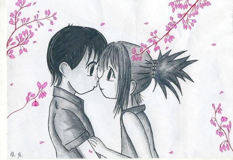 Детские картинки карандашом про любовь