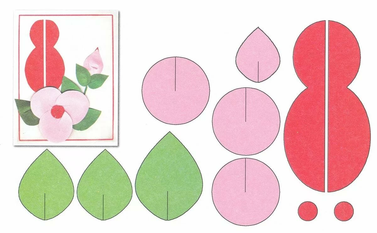 Аппликация открытка с цветами для выполнения с детьми, для географа