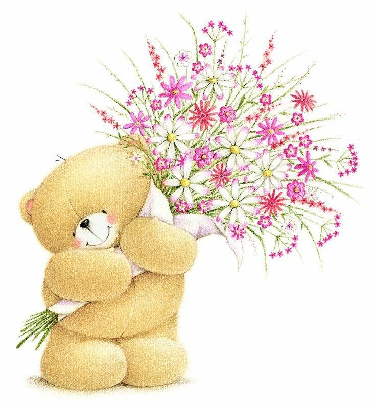 С днем рождения открытки мишка с цветами, картинки анимации днем