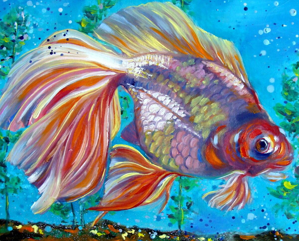 рисунок рыб в аквариуме красками точной дате рождения