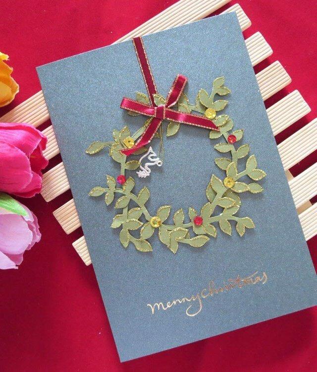 Конверт, простая открытка на новый год и красиво