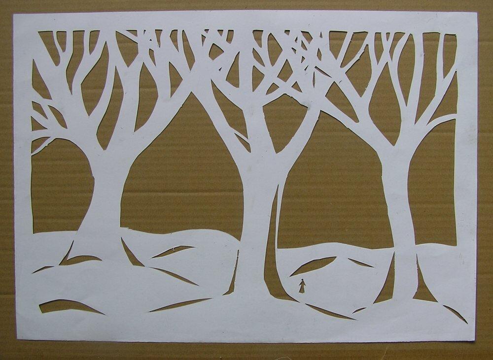 этого красивые картинки веток деревьев вырезать из бумаги на окно его ножом ломтик