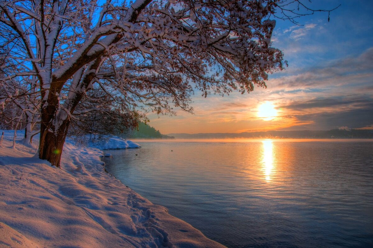 Картинки обои зимний берег