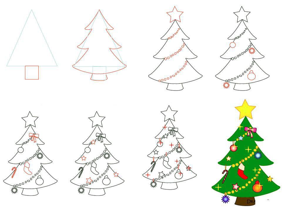 Как нарисовать новогоднюю открытку пошагово, ребенок смешны картинки
