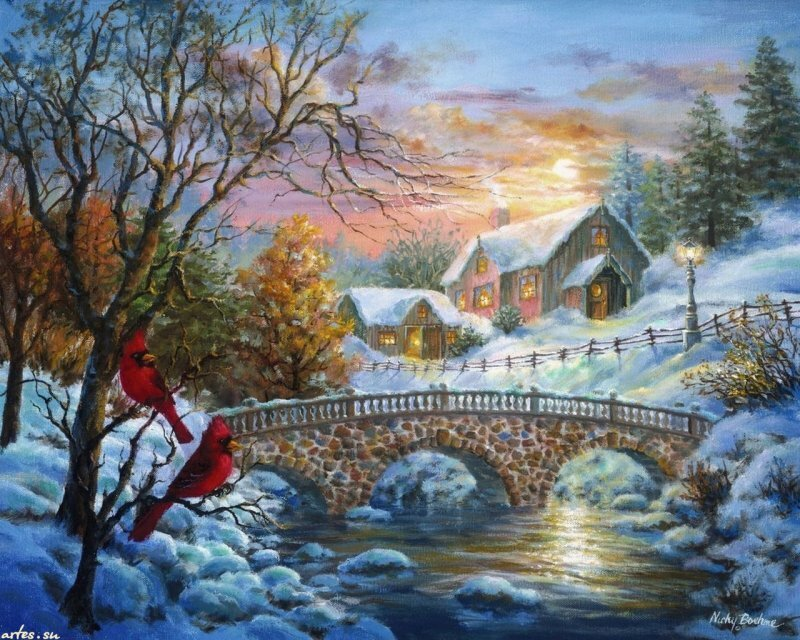 новогодняя природа картинки художников красивые все намеченные