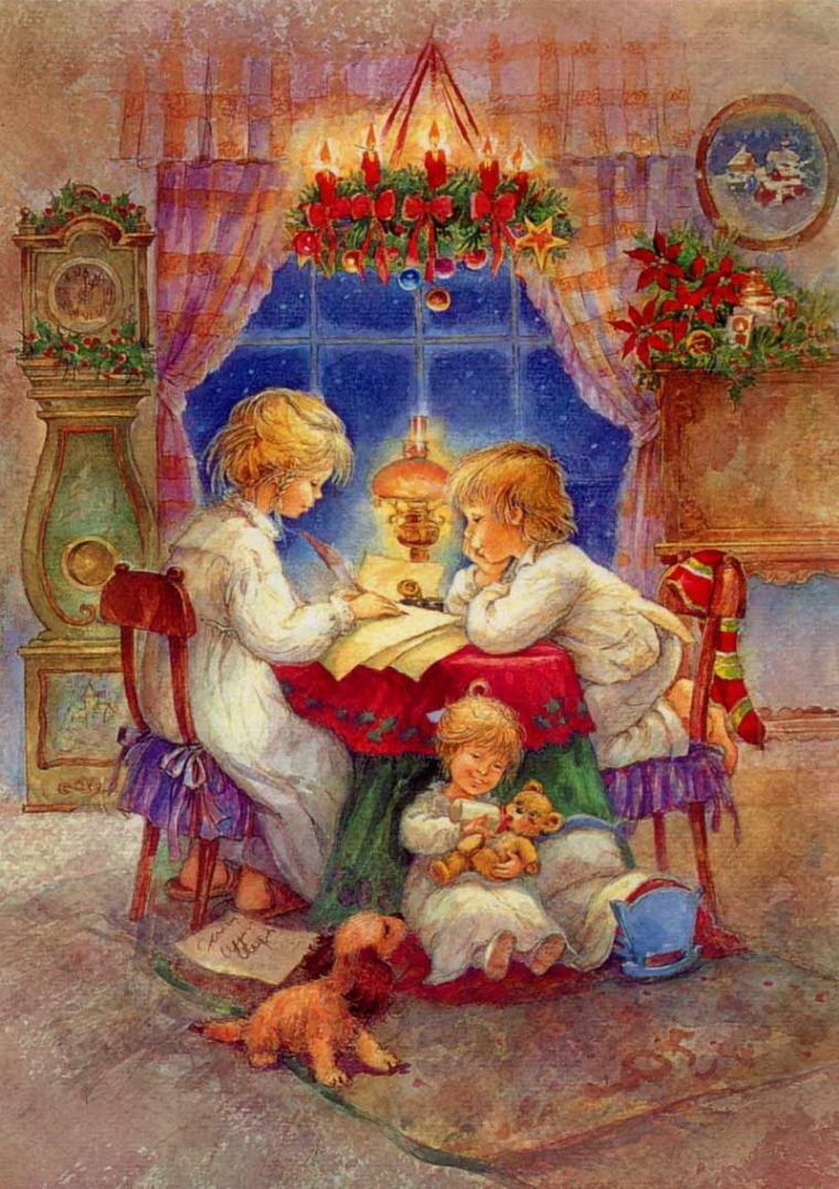 Рождественские открытки нарисованные детьми, нарисованные марта красивые