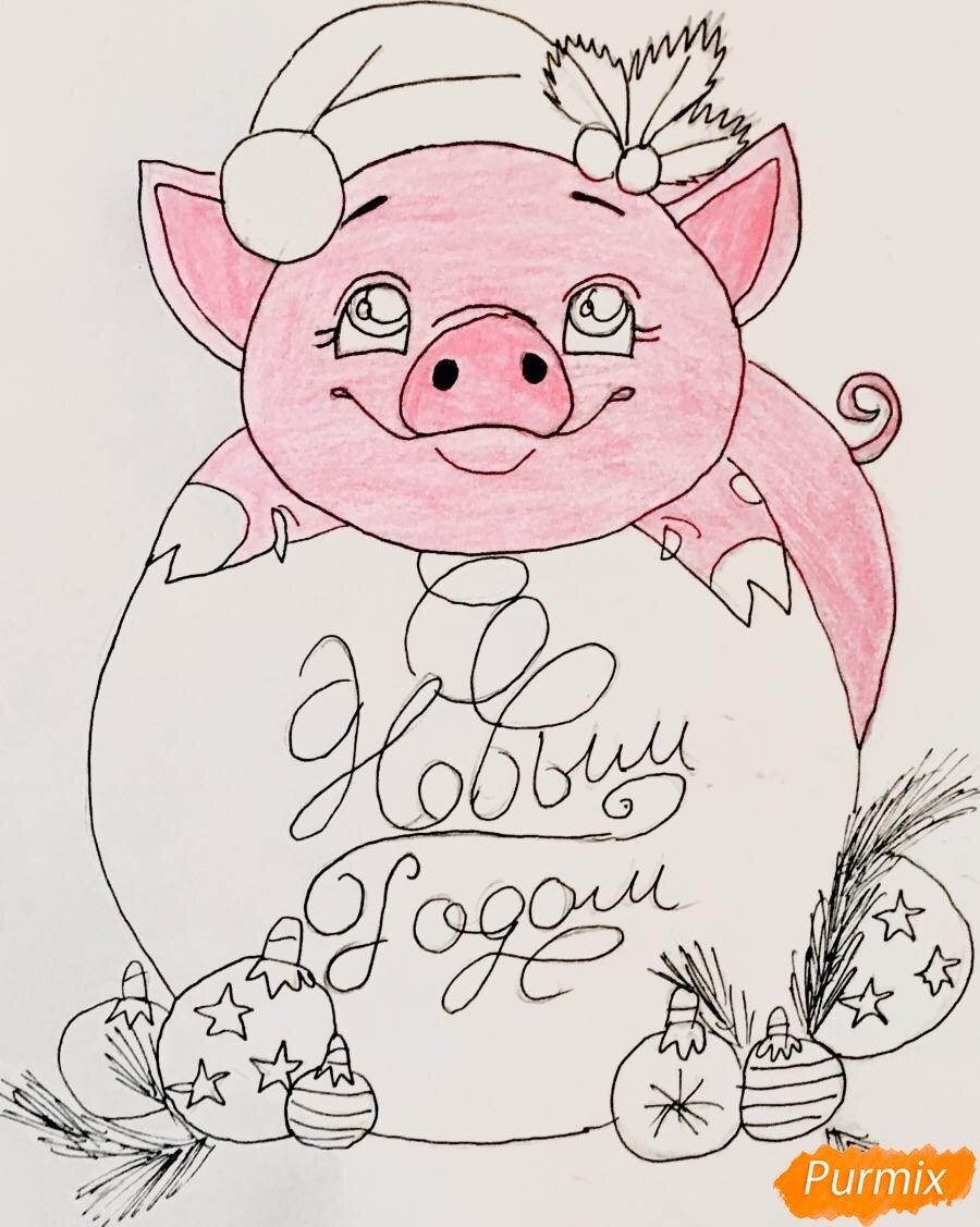 Картинки свинок для срисовки новогодние