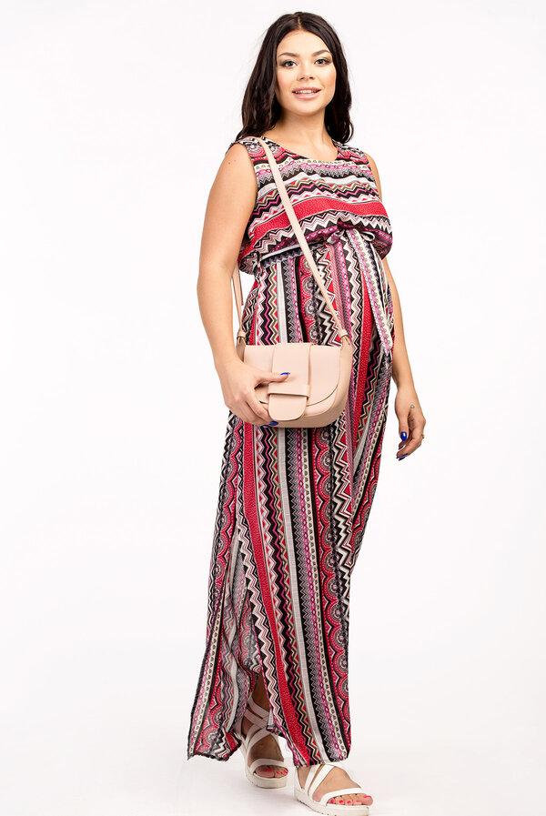 d9143961c5d62ea Замысловатый ориентальный узор в кораллово-дымчатых оттенках – изюминка  этого летнего платья для будущих мам