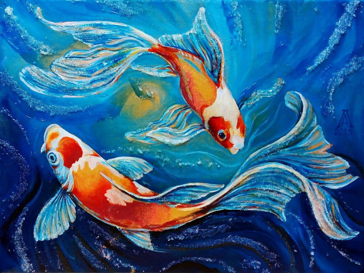 этот картина рыбы маслом просьба хочется