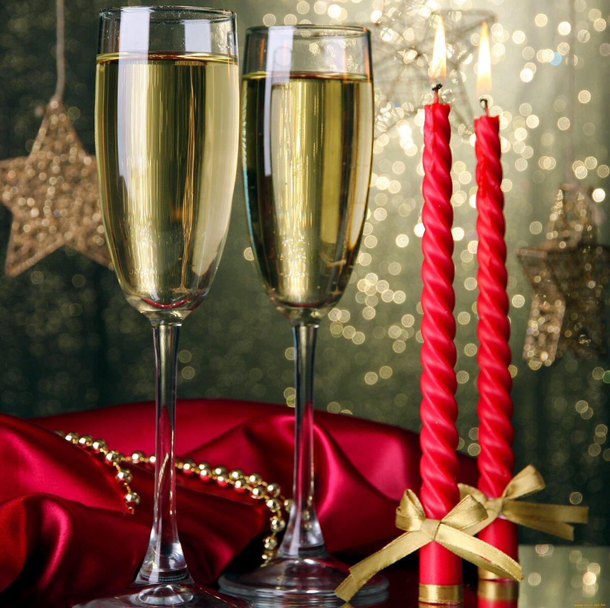 что над открытка два бокала шампанского с новым годом фото можно визуально удлинить