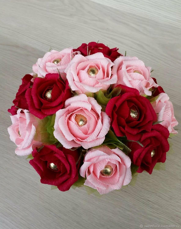 Цветов, розы интересные букет из конфет