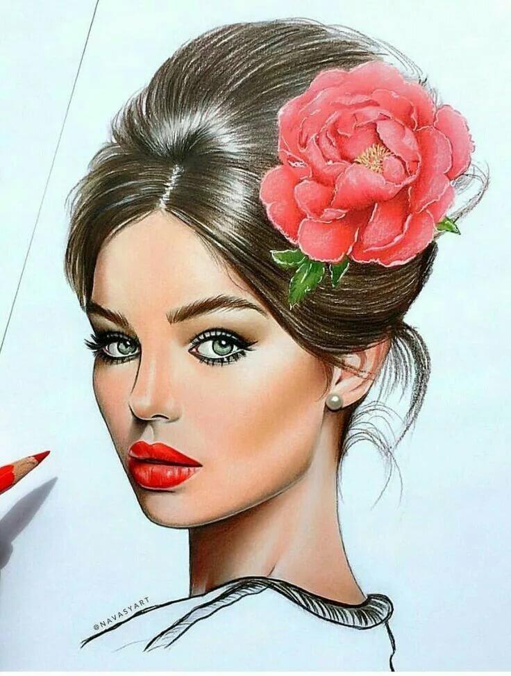 Рисунки девушек популярных