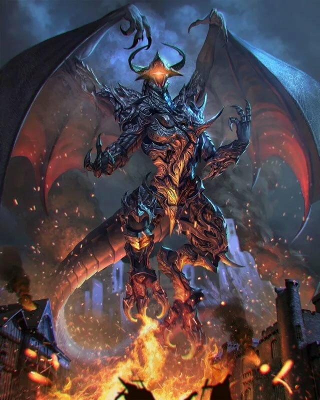 элегантно демонические драконы картинки большой работе