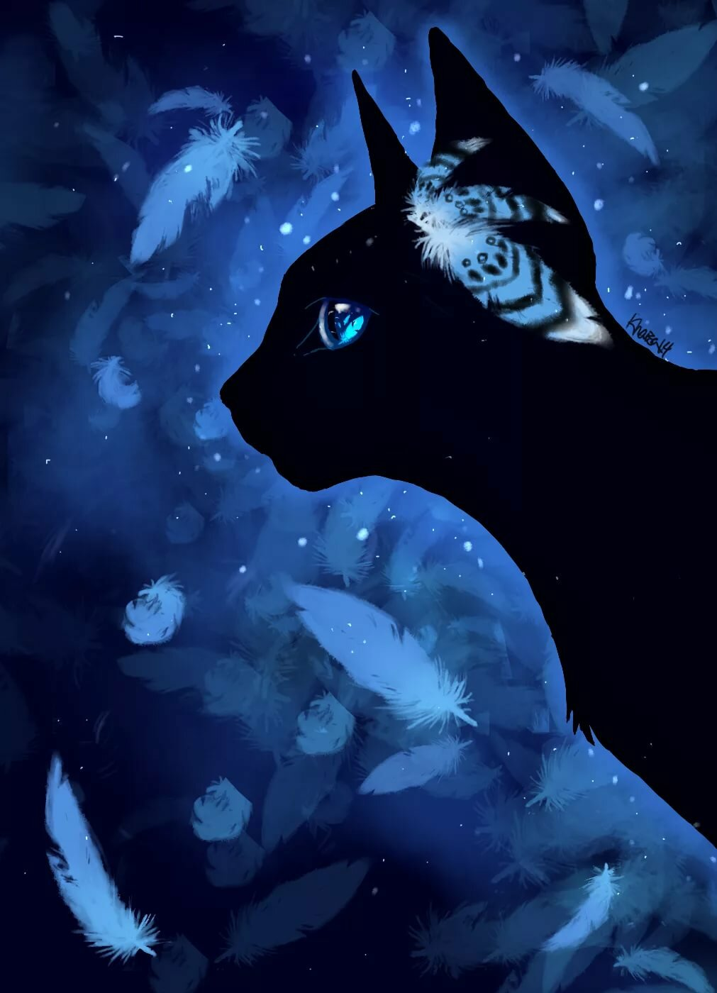 картинки с черными кошками с голубыми