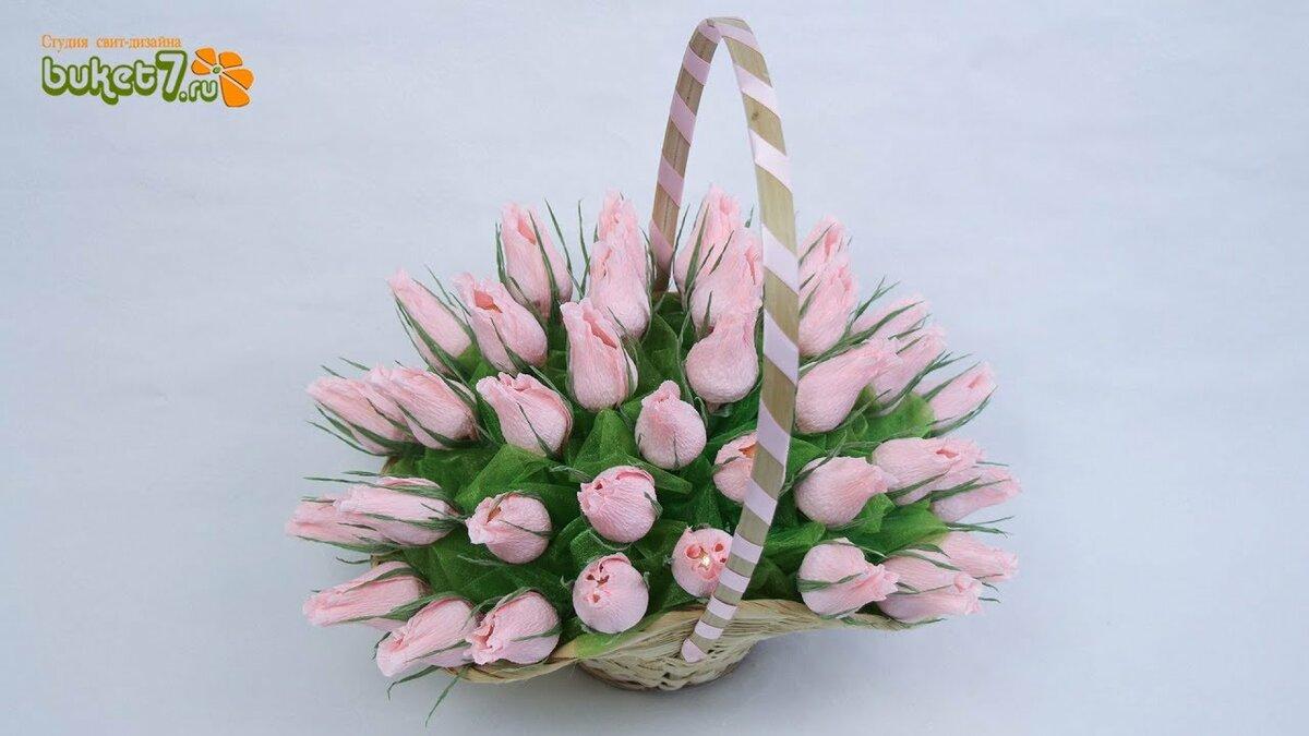 Мастер класс букет роз из гофрированной бумаги в корзинке, 500