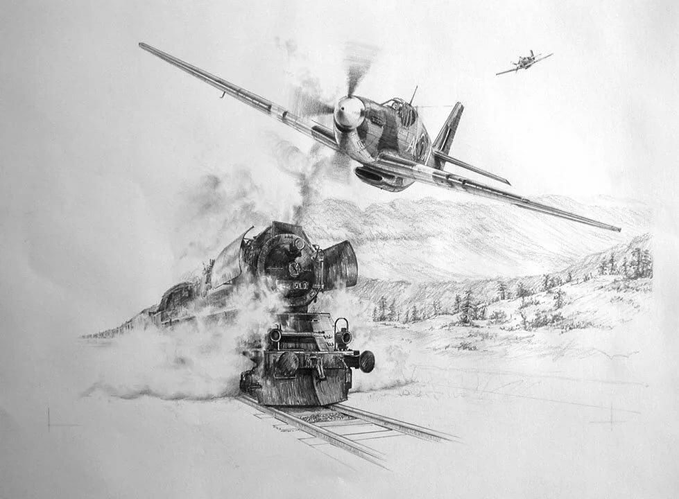 очень картинки танков карандашом самолеты смерти