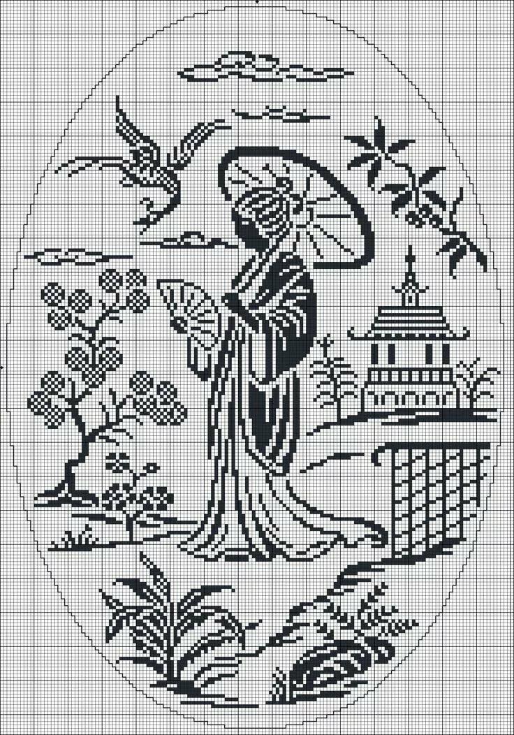 Милф ганг вышивка крестом черно белая графика ласкает