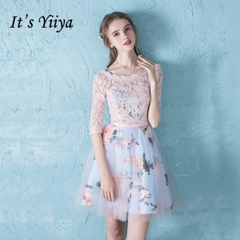 79480b13909 ... Это YiiYa коктейльное платье до колен Кружева Цветочный принт Кружева Вечернее  платье модные дизайнерские торжественное платье