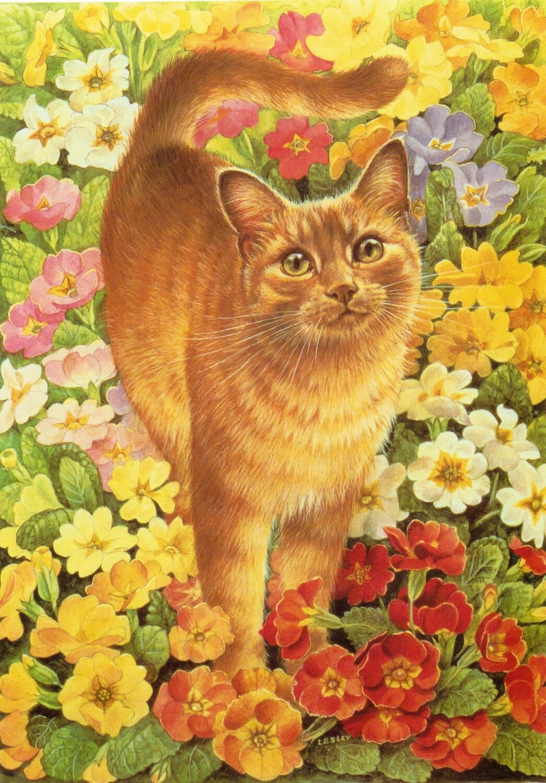 Открытки, открытка кошка с цветами