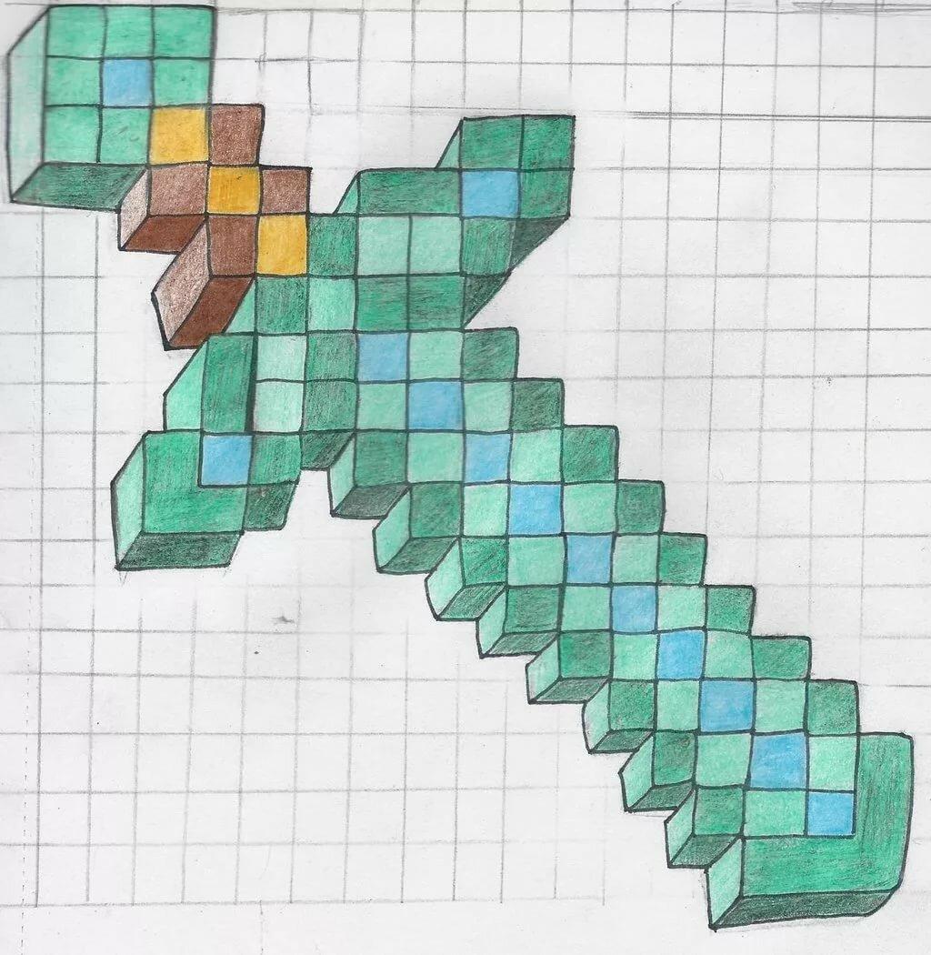 Картинки по клеточкам в тетради рисунки майнкрафта