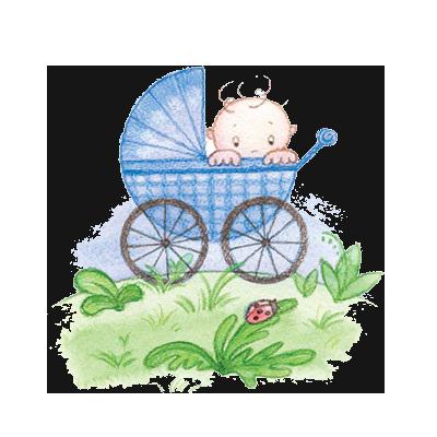 Открытка с детской коляской