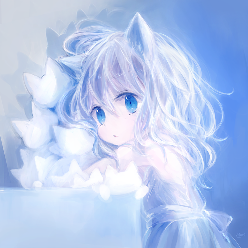 Аниме картинки девушек красивых милых с голубыми оттенками