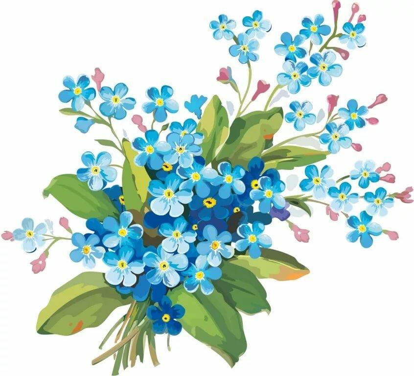 Движущиеся картинки, открытка цветы незабудки