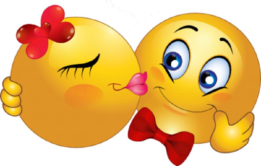 Открытки смайлики с поцелуем