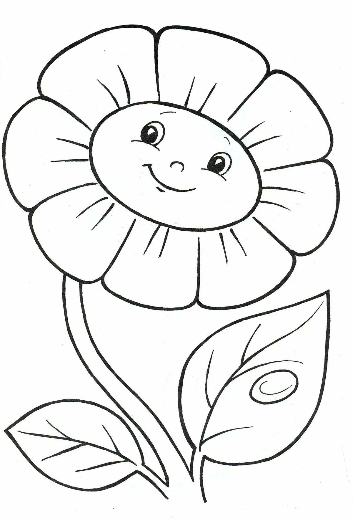 Открытка новому, рисунок ромашки для раскрашивания