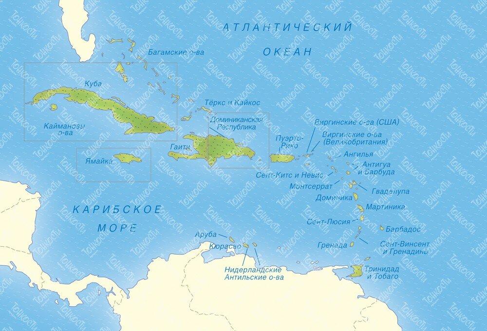 время картинка карибского моря на карте издали
