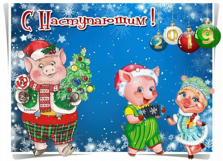 Для мамы, открытки с новым годом 2019 свиньи с наступающим пожеланиями