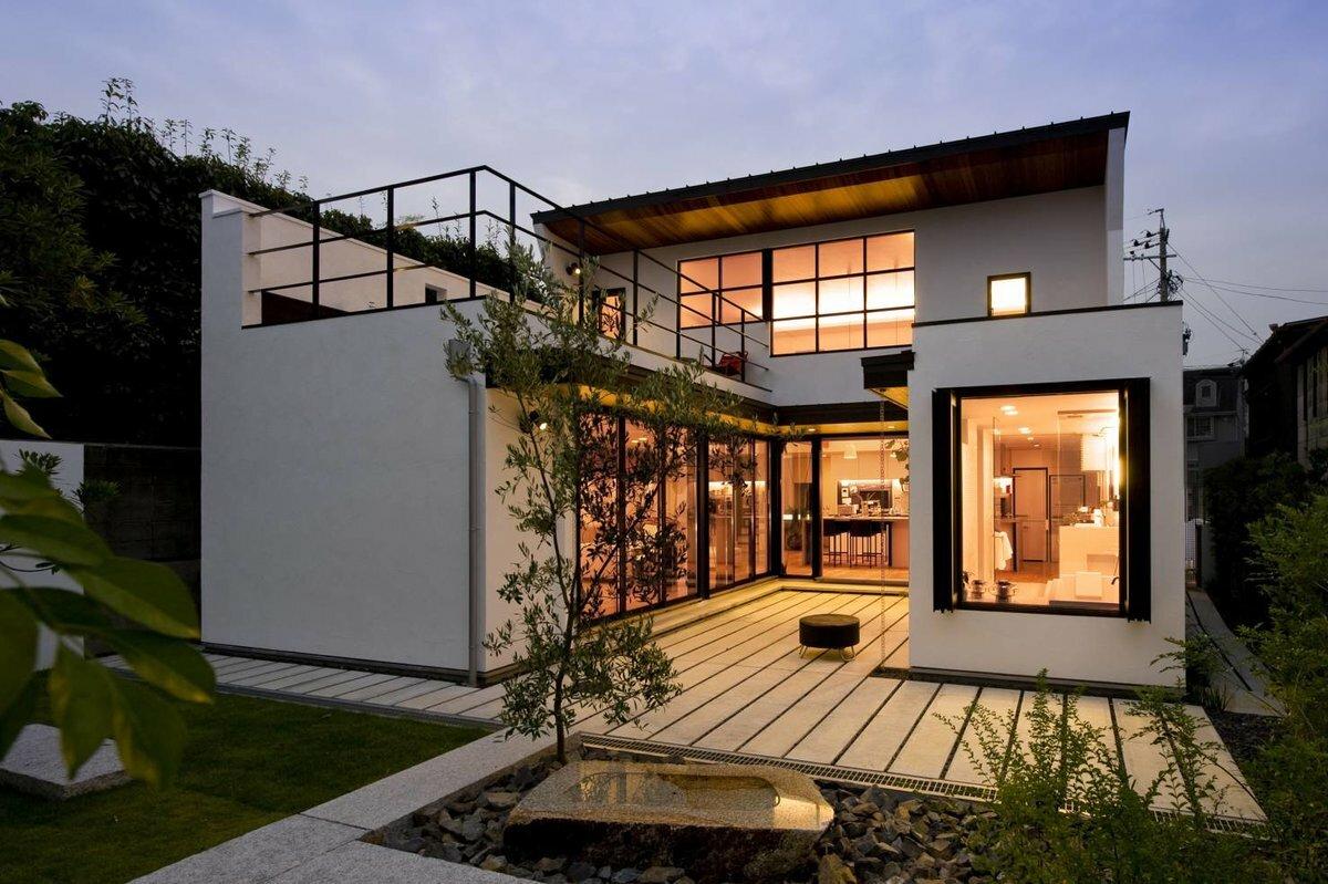 небольшие дома с плоской крышей фото или купить
